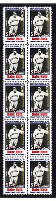 Babe Ruth Baseballs Greats Strip Of 10 Mint Stamps