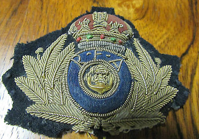 ROYAL FLEET AUXILARY SHIPPING SHIPS EMBROIDERED BADGE ANTIQUE 1850s
