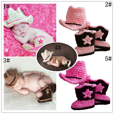 Baby Girl Boy Knit Crochet Handmade Costume Photography Outfits Cowboy Suits