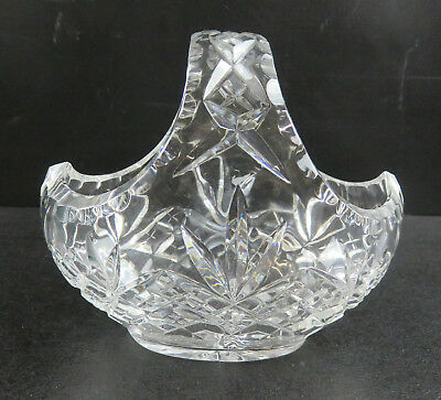 Small Crystal Cut Glass Flower Basket With Cross Cut Designs & Scalloped Rim
