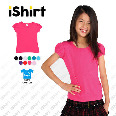 Girls Tees T-Shirt Puff Sleeve I 100% Soft Cotton Plain Blank Tee I Size 0-16