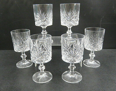 "Set Of 6 Crystal Cut Glass Sherry Glasses With Cut Designs 4.8"" High"