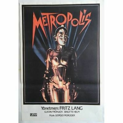 METROPOLIS - 1927 - ORIGINAL TURKISH MOVIE POSTER - 80's - MEGA RARE - LANG