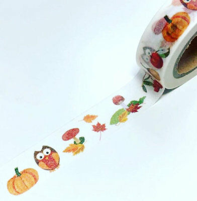 Autumn owl washi tape, owl washi, decorative tape * Free P&P