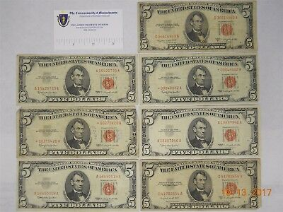(7) Us Five Dollar Notes, Red Seal
