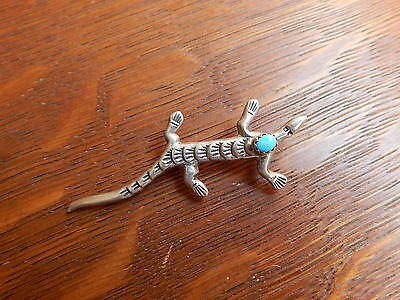 Vintage Navajo Stamped Sterling Silver Blue Turquoise Lizard Pin