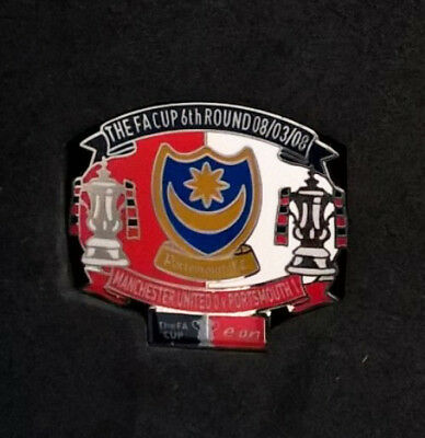 Limited Edition PORTSMOUTH VS MANCHESTER UNITED Pin Badge FA Cup 2008 Football