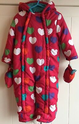 John Lewis Girl's Pink Hearts Snowsuit With Attached Mittens 18-24 Months