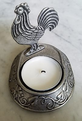 Pewter Rooster Votive Tealight Candle - reflects shadow of Rooster