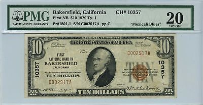1929 $10 TYI Bakersfield CA. FR#1801-1 First Naational Bank in Bakersfield CA PM