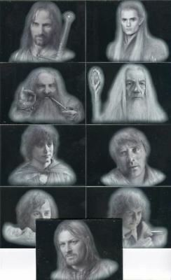 Lord of the Rings Masterpieces Series One Silver Parallel Chase Card Set 9 Cards