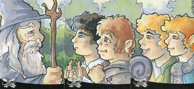Lord of Rings Sketch Card Panel Commissioned by Amy Pronovost 3 Cards