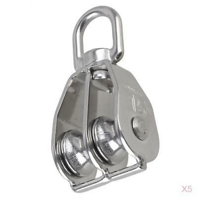 Pack of 5 Stainless Steel Swivel Double Lifting Crane Pulley Rope Block