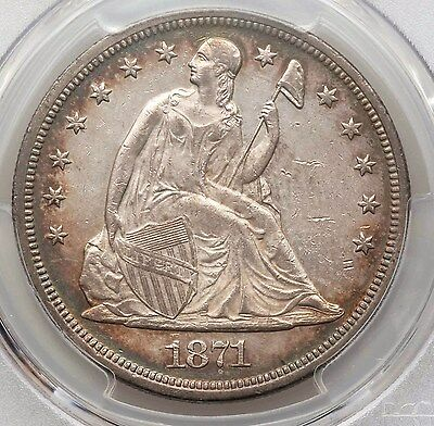 1871 PCGS AU55 Seated Liberty Silver Dollar Nice Eye Appeal Type Coin About Unc