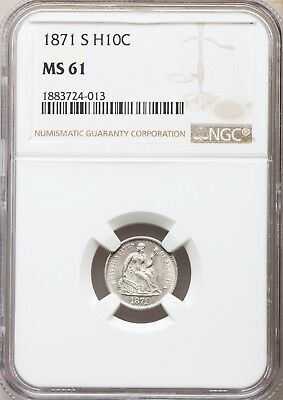 1871-S NGC MS61 Seated Liberty Half Dime Tough S Mint H10 Uncirculated Type Coin