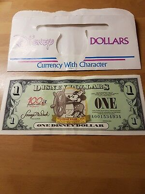 Disney Dollars $ Steamboat Willie 1928 Series 2002 Collectable A00153493A