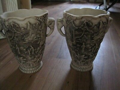 ORIENTAL two good   GOOD QUALITY CARVED VASES WITH ELEPHANTS/HEAVY