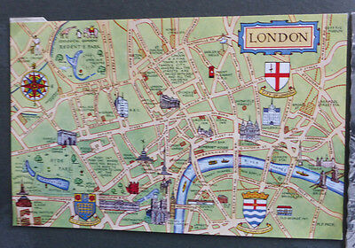 Vintage British Postcard - Map Of London