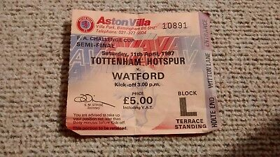 1987 TOTTENHAM SPURS v WATFORD TICKET FA CUP SEMI FINAL  @ VILLA PARK 11/04/87