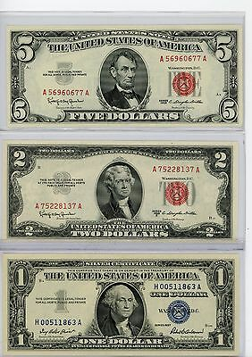 Collection Lot Of 3 Vintage Pieces Of U.s.a Currency Notes $1-$2-$5$ B