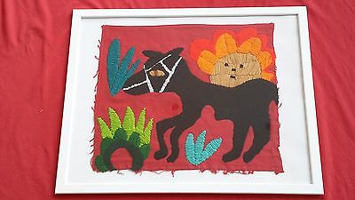 Gorgeous Framed Vintage One-of-a-Kind Hand-Embroidered Childs Quilt Square 16x20