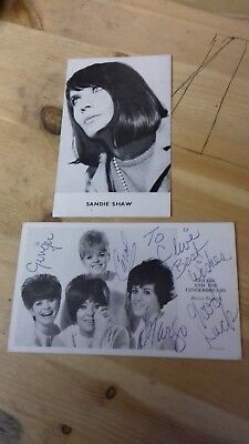 2 1960s POP PROMOTIONAL POSTCARDS GOLDIE & THE GINGERBREADS SANDIE SHAW DECCA
