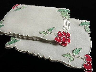 PRETTY CHERRIES Vintage Linen 8 Cocktail Napkins Madeira Hand Embroidery UNUSED