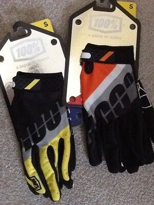 100% Motocross Gloves Size S Two Pairs
