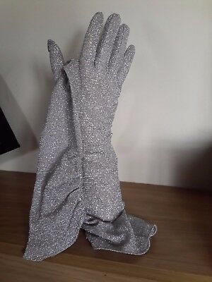 Vintage Silver Lurex Opera Gloves by Cornelia James  Size 7
