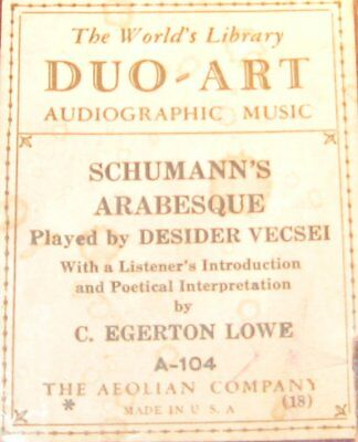 Audiographic Duo-Art Piano Roll A-104 Schumann's Arabesque