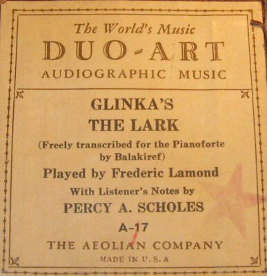 Audiographic Duo-Art Piano Roll A-17 Glinka's The Lark