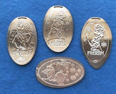Disney Parks 4 Pressed Penny Set Olaf Anna Elsa WDW New Tokens Frozen 2 in 2019
