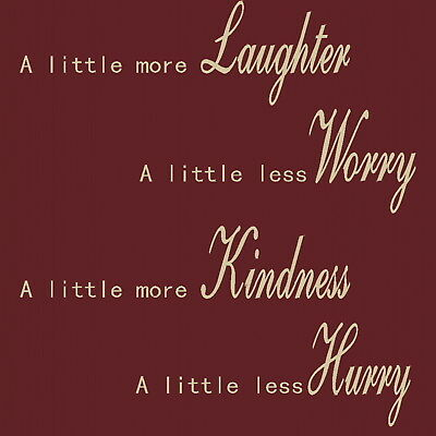Laughter Worry Kindness - Inspirational Wall Quote /  Motivational Quotes niq10