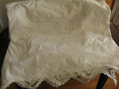 Antique Hand Embroidered Lace Embellished Crisp White Cotton Sheet, Queen!