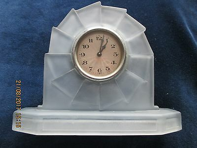 Rare Vintage 1930s Bagley Blue Art Deco Frosted Glass Clock