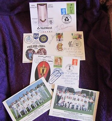 Signed Cricket stamp items -  Dickie Bird (Limited edition); Jack Russell & B&H