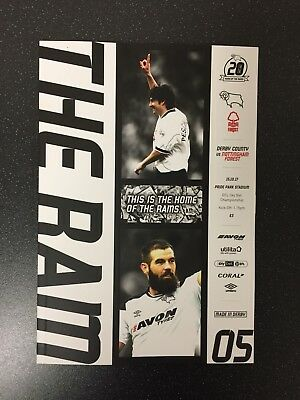 Derby County V Nottingham Forest 15/10/2017 Programme. Mint Condition