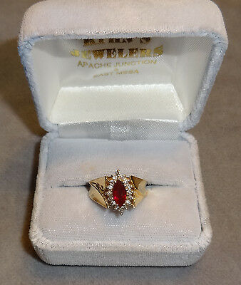 Ruby Marquis 1.00CT~17 Diamonds of 1mm ea~14K Yellow Gold Ring 6 Grams~Size 5.75