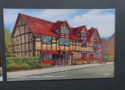 Vintage British Postcard - Shakespeare Birth House, Stratford