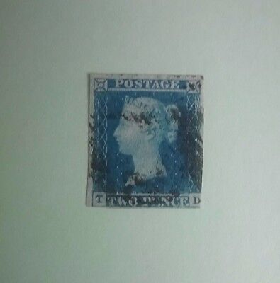 Great Britain 1841 Queen Victoria 2d blue used C/V $140+