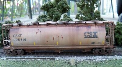 Atlas Custom Weathered HO Scale ACF 3 Bay Cylindrical Covered Hopper CSXT 225416