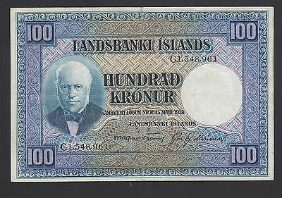 Iceland 100 Kronur 1948-56  VF  P. 35,  Banknote, Circulated