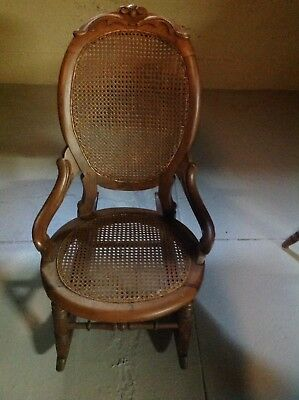 Eastlake Victorian Walnut Rocker Rocking Chair Cane Back & Bottom c1890