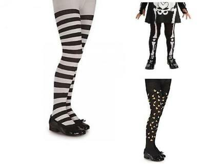 HALLOWEEN Girls SM MD LG Candy Corn Skeleton STRIPED Tights Costume PROP Gothic
