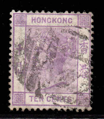 Hong Kong 1880 10c mauve wmk crown CC SG 30 used