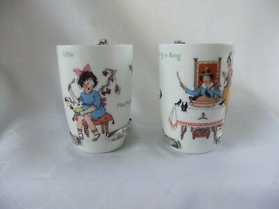 Pair Royal Doulton Nursery Rhymes Seriesware Beakers With Plated Handles 1920-30