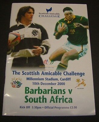 Barbarians v South Africa December 2000 Rugby Programme.