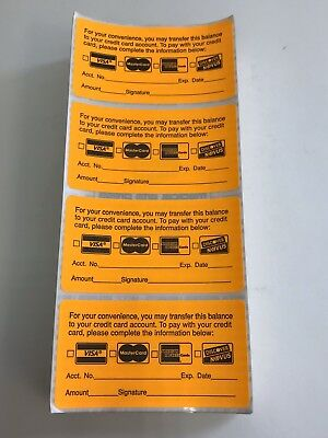 """For Your Convenience Credit Card Stickers, 3 1/4""""W x 1 3/4""""H, Fl Orange, 414 Pk"""