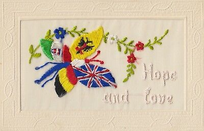 Ww1 Silk Embriodered Postcard  - Hope And Love - Butterfly.