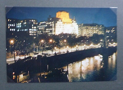 Vintage British Postcard - Thames Embankment At Night
